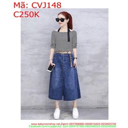 Chân váy jean phom dài rách lại sành thời trang CVJ148