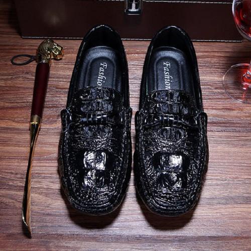 Giày lười da bò dập vân cá sấu 23 - QC