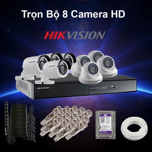 Trọn bộ 8 camera Hikvision HD 1M