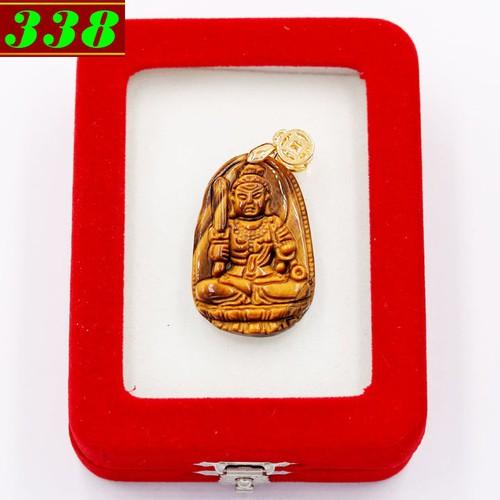 Mặt dây chuyền Bất động minh vương đá mắt hổ 3.8cm kèm hộp nhung