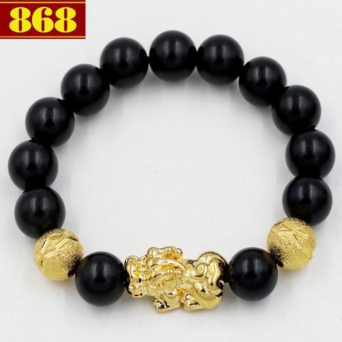Chuỗi hạt Tỳ hưu vàng gỗ mun 12 ly A503