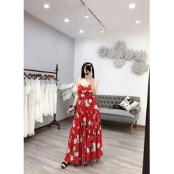 Đầm maxi nữ hoạ tiết hoa cực sang
