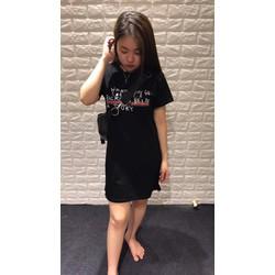 Đầm thun suông in chữ hàng Quảng Châu chất mát