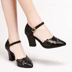 Giày sandal cao gót nữ hoạ tiết hoa