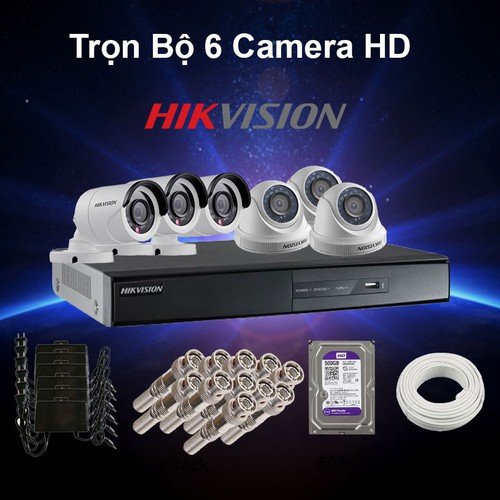 Trọn bộ 6 camera Hikvision HD 1M