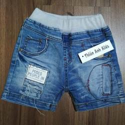 Quần short jeans nam chữ POSES