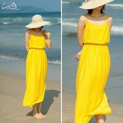 Đầm Maxi Vàng Thiết Kế - LiA