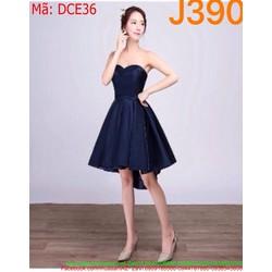 Đầm xòe ngắn cúp ngực xẻ chéo màu xanh xinh xắn DCE36