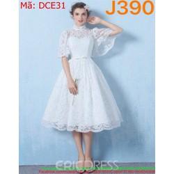 Đầm xòe trắng dự tiệc chất liệu ren cao cấp xinh xắn DCE31