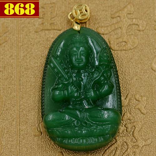 Mặt dây chuyền Hư Không Tạng Bồ Tát ngọc tủy xanh