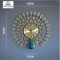 Đồng hồ treo tường trang trí con công xanh phong cách quý tộc