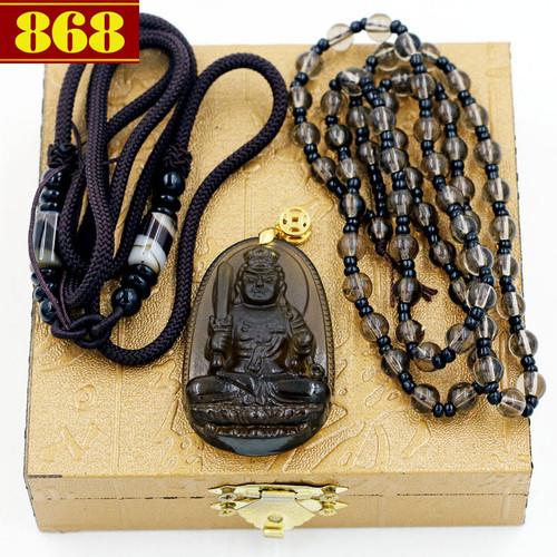 Dây chuyền Phật Bất động minh vương Obsidian