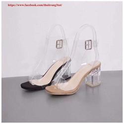 Giày sandal cao gót vuông quai trong 5cm