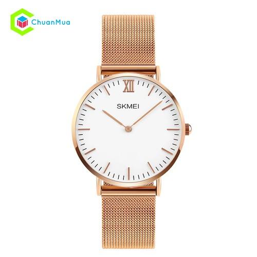 Đồng hồ Nữ chính hãng Skmei 1185 dây thép lưới nhuyễn - Vàng