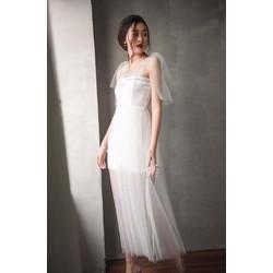 Đầm trắng phối lưới dịu dàng