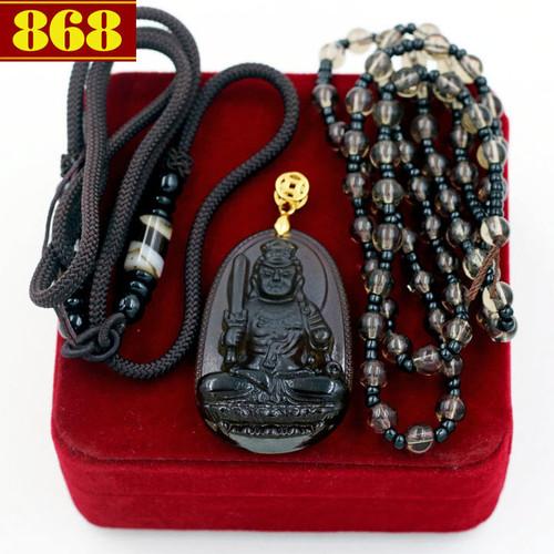 Bộ dây chuyền Phật Bất động minh vương Obsidian