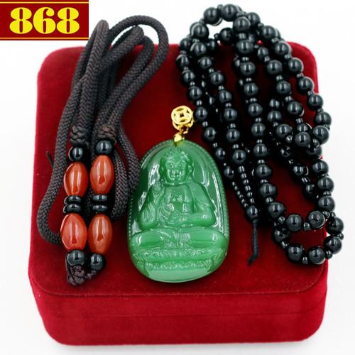 Bộ dây chuyền Phật A Di Đà ngọc tủy xanh