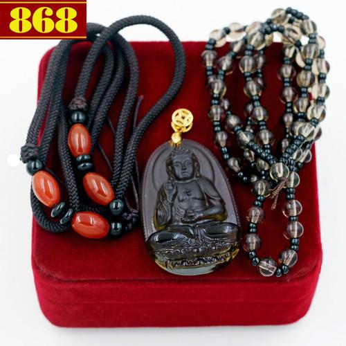 Bộ dây chuyền Phật A Di Đà Obsidian