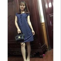 FREE SHIP Váy Bầu Xanh Chấm Bi Dáng Suông