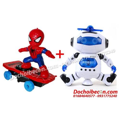 Combo đồ chơi người nhện lướt ván + Robot xoay 360 độ: Đèn, nhạc - 5695873 , 9635506 , 15_9635506 , 220000 , Combo-do-choi-nguoi-nhen-luot-van-Robot-xoay-360-do-Den-nhac-15_9635506 , sendo.vn , Combo đồ chơi người nhện lướt ván + Robot xoay 360 độ: Đèn, nhạc