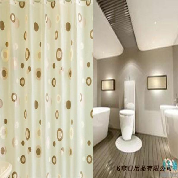 Rèm cửa nhà Tắm decor cá tính không thấm nước - Vòng tròn cafe 1
