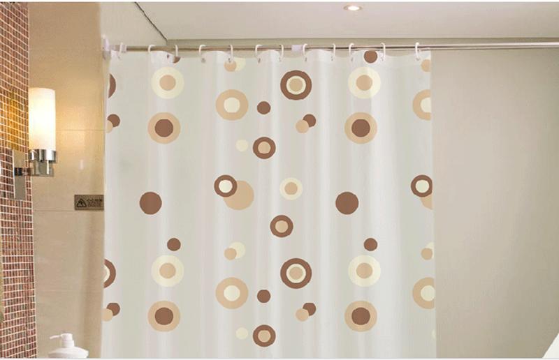 Rèm cửa nhà Tắm decor cá tính không thấm nước - Vòng tròn cafe 4