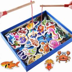 Đồ chơi câu cá nam châm gỗ 32 món cho bé
