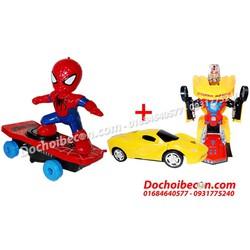 Combo đồ chơi người nhện lướt ván + Xe robot biến hình: Đèn, nhạc