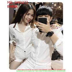 Sét áo sơ mi cặp dài tay màu trắng sọc viền cổ phong cách SMD272