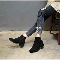 Giày boot da lộn gót vuông 4cm | giày boot nữ