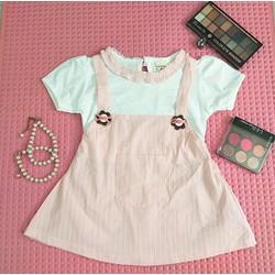 Váy yếm hồng phấn cho bé - ẢNH THẬT