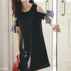 Đầm suông nữ phối tay thắt nơ cực dễ thương
