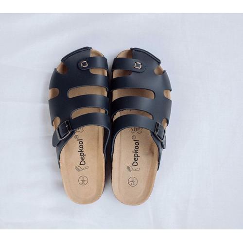 Dép sandal bịt mũi quai pu màu đen đế trấu unisex cao cấp