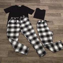 Set quần baggy + áo thun cổ tim