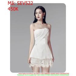 Sét áo cúp 2 dây và chân váy ren màu trắng trẻ đẹp SEV522