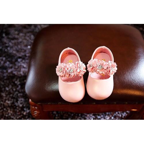 Giày tập đi quai đính hoa cao cấp bé gái