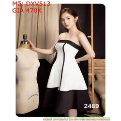 Đầm xòe dự tiệc cúp ngang viền đen cá tính thời trang DXV513