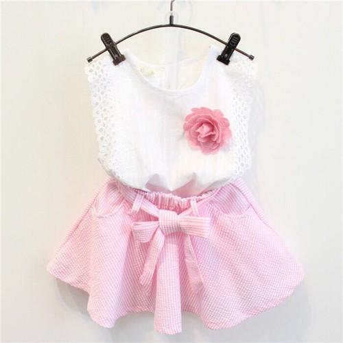 Set áo trắng váy hồng bé gái
