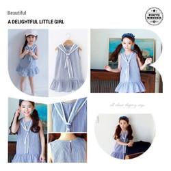 Váy kẻ xanh dáng đuôi cá cực yêu dành cho bé