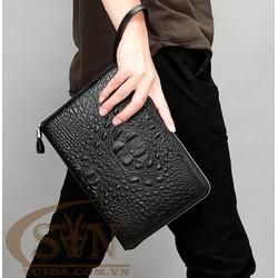 Túi đựng iPad cầm tay da thật nhập khẩu Vân Cá Sấu TIC9