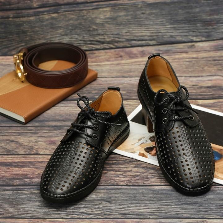 Giày Công Sở Lỗ Thoáng Da Bò SG090D màu Đen và Nâu 2