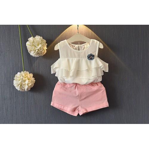 Set áo trắng quần short hồng bé gái