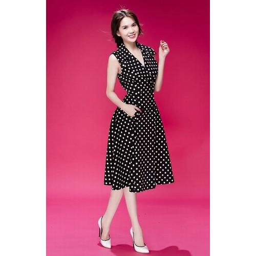 Đầm xòe cổ vest chấm bi NT - NR248 - 2 size