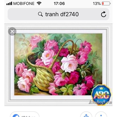 tranh đinh đá binh hoa 75x55cm