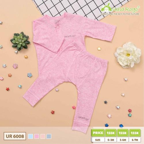 Bộ quần áo dài tay Uala Rogo cúc dọc, vải trơn cho bé 3-6 tháng