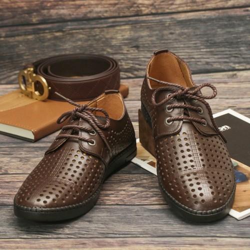 Giày công sở da bò lỗ thoáng sg090 màu đen và nâu sẫm