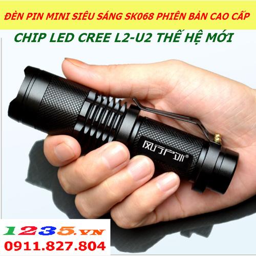 ĐÈN PIN MINI SIÊU SÁNG SK68-CHIP LED L2-U2 PHIÊN BẢN CAO CẤP