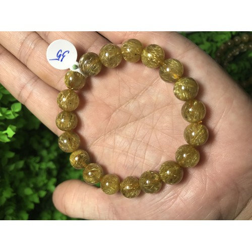 Vòng Tay đá tự nhiên Thạch Anh tóc vàng 10 li 19 hạt loại Vip