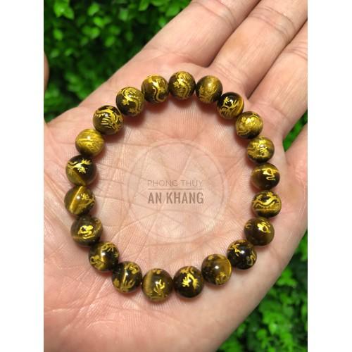 Vòng tay đá tự nhiên vàng nâu khắc kinh phật 8 li