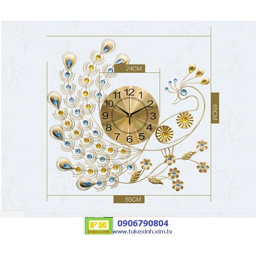 Đồng hồ treo tường trang trí công vàng kiêu sa